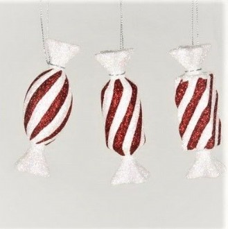 Candy, 3 piece set, red glitter with iridescent white glitter stripes and tails, 3 different designs, each piece is 100 mm long