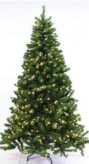 Tree  Arctic Spruce Pre-Lit with  Warm White Led Lights Hook On Branches - Height 2.1 metres