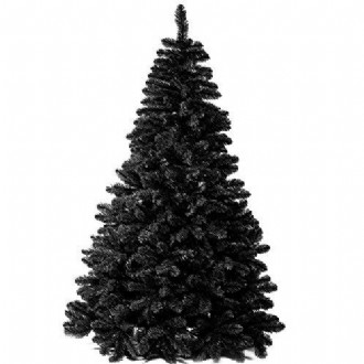 Christmas Tree Black. Regular shape. 2.7 metres decorated with gold & silver baubles