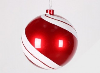 Bauble, Candy Apple Red, White Glitter Bias Stripe, 200mm