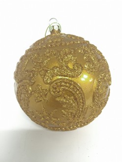 Bauble embossed design, candy apple gold with gold glitter, 100 mm