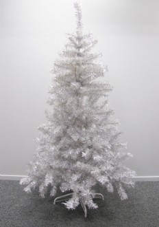 Christmas tree, white silver tinsel style. 1.6m (5ft) high.