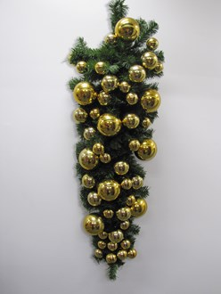 Christmas Wall  Tree Upside Down Style with flat back for mounting on walls and pillars. Predecorated with shiny gold baubles. 1.2metre long