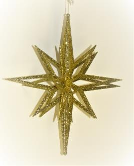 3D star, gold glitter hanging star, 20 point, 3 piece flat pack fiber board construction, 400mm diameter