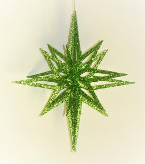 3D star, lime glitter hanging star, 20 point, 3 piece flat pack fiber board construction, 400mm diameter