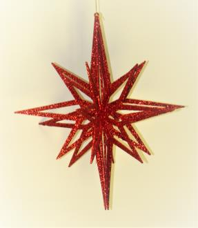 3D star, red glitter, hanging star, 20 point, 3 piece flat pack fiber board construction, 400mm diameter