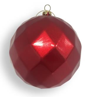Bauble diamond faceted, candy apple red. 100mm