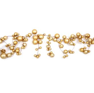 Ball Garland in icicle drop formation with (30mm, 50mm, and 70mm) matt gold baubles, 1.5 metres long