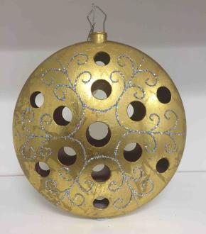 Bauble flat hollow antique style, matt gold with silver glitter scrolls. 200mm