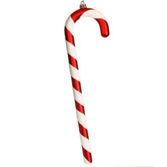 Candy cane, matt red with iridescent white bias stripes, 300mm long