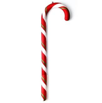Candy Cane Red And White Green Bias Stripes 1.5M
