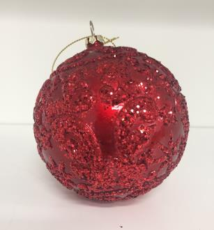 Bauble embossed design candy apple red with red glitter. 100mm