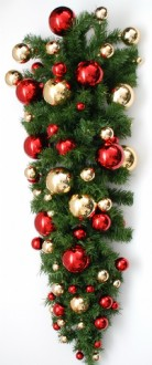 Christmas Wall  Tree Upside Down Style with flat back for mounting on walls and pillars. Predecorated with shiny red & gold a baubles. 1.2metre